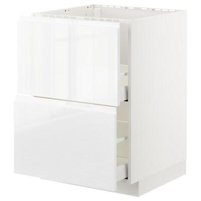 METOD / MAXIMERA Sz stj zl+2fr/2szu, biały/Voxtorp połysk/biel, 60x60 cm