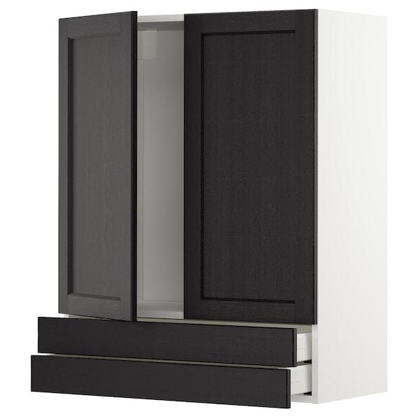 METOD / MAXIMERA Sza śc 2 drz/2 szuf, biały/Lerhyttan bejcowane na czarno, 80x100 cm