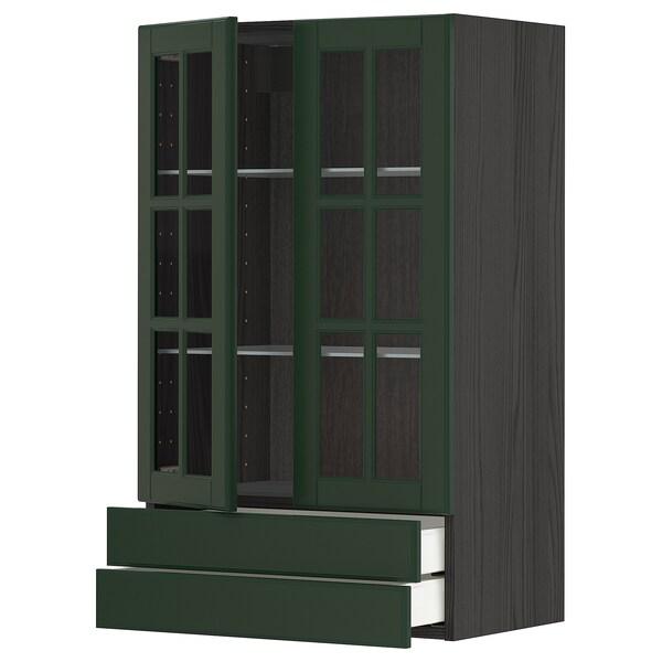 METOD / MAXIMERA Sza śc 2 szkl drz/2 szuf, czarny/Bodbyn ciemnozielony, 60x100 cm