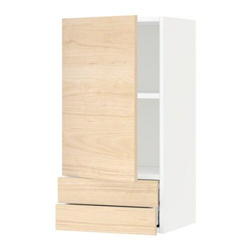 METOD  MAXIMERA Szafka ścienna, drzwi 2 szuflady  biały   -> Kuchnia Ikea Askersund