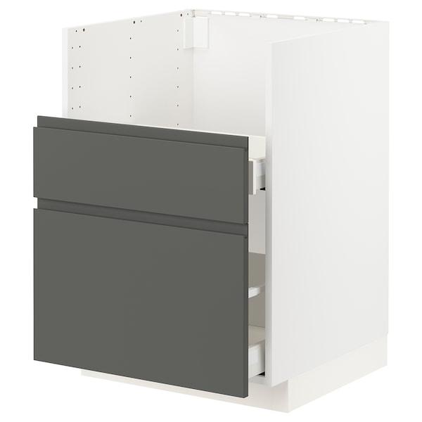 METOD / MAXIMERA Szafka st zlew BREDSJÖN/2fr/2szu, biały/Voxtorp ciemnoszary, 60x60 cm