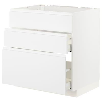 METOD / MAXIMERA Szafka stojąca pł/okap zint. z szuf, biały/Voxtorp matowy biały, 80x60 cm