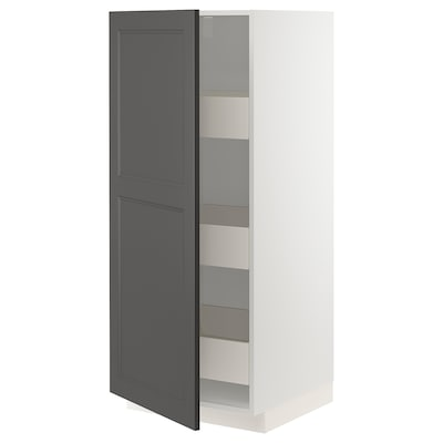 METOD / MAXIMERA Szafka wysoka z szufladami, biały/Axstad ciemnoszary, 60x60x140 cm