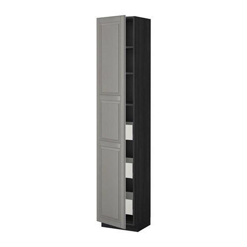 metod maximera szafka wysoka z szufladami bodbyn szary imitacja drewna czarny 40x37x200 cm. Black Bedroom Furniture Sets. Home Design Ideas