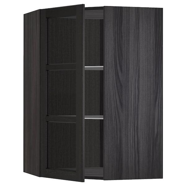METOD Nar sza śc z pół/szkl drz, czarny/Lerhyttan bejcowane na czarno, 68x100 cm