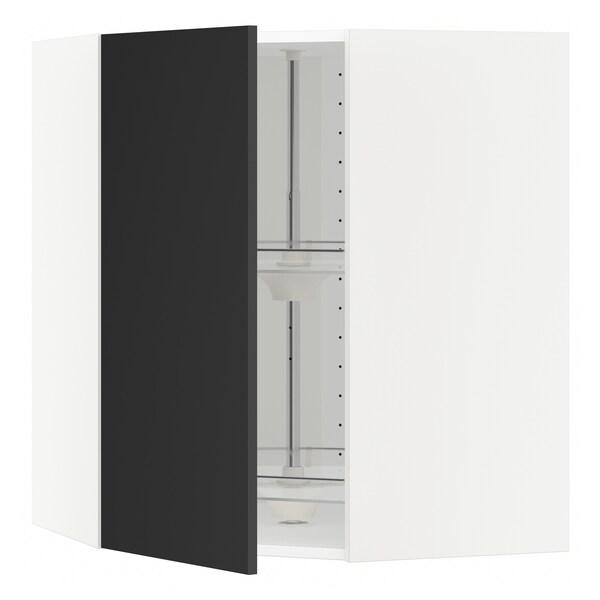 METOD Narożna szafka ścienna z karuzelą, biały/Uddevalla antracyt, 68x80 cm