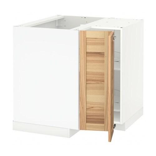 METOD Narożna szafka stojąca z karuzelą - biały, Torhamn naturalny jesion - IKEA
