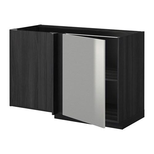 METOD Naro u017cna szafka stoj u0105ca z pó u0142k u0105 imitacja drewna czarny, Grevsta stal nierdz IKEA