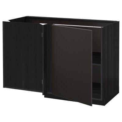 METOD Narożna szafka stojąca z półką, czarny/Kungsbacka antracyt, 128x68 cm