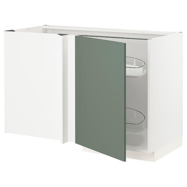 METOD Narożna szafka stojąca z wys. półką, biały/Bodarp szarozielony, 128x68 cm