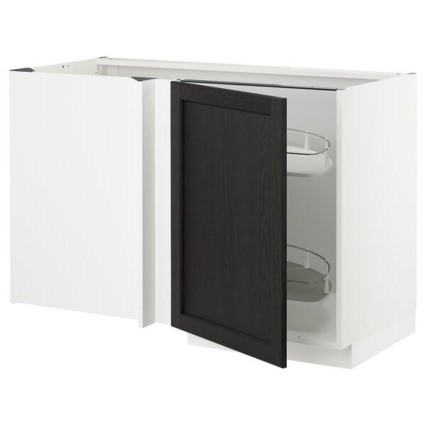 METOD Narożna szafka stojąca z wys. półką, biały/Lerhyttan bejcowane na czarno, 128x68 cm