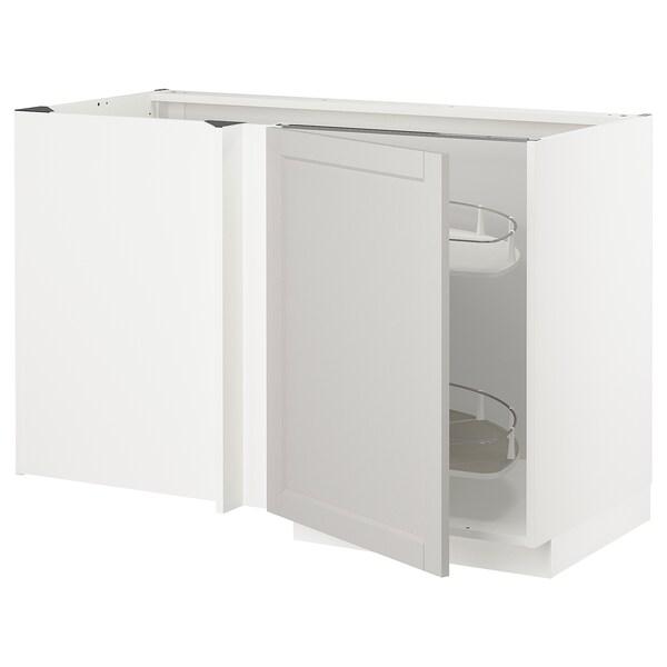 METOD Narożna szafka stojąca z wys. półką, biały/Lerhyttan jasnoszary, 128x68 cm