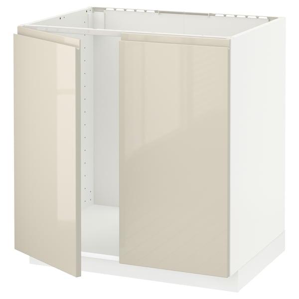 METOD Sza p zlew/2 drz, biały/Voxtorp wysoki połysk jasny beż, 80x60 cm