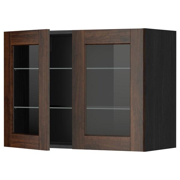 METOD Sza śc pół/2 szkl drz, czarny/Edserum brązowy, 80x60 cm