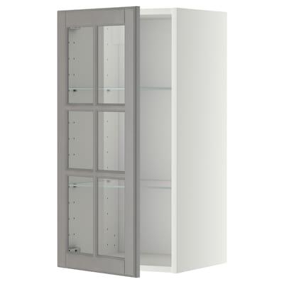 METOD Sza śc pół/szkl drz, biały/Bodbyn szary, 40x80 cm