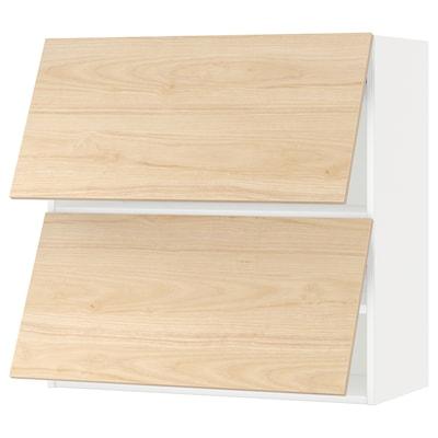 METOD Sza śc poziom 2 drz, biały/Askersund wzór jasny jesion, 80x80 cm