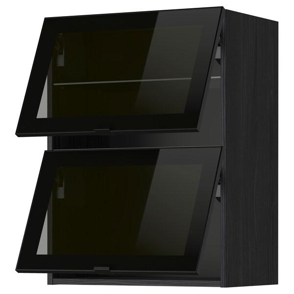 METOD Sza śc poziom 2 szkl drz, czarny/Jutis szkło, 60x80 cm