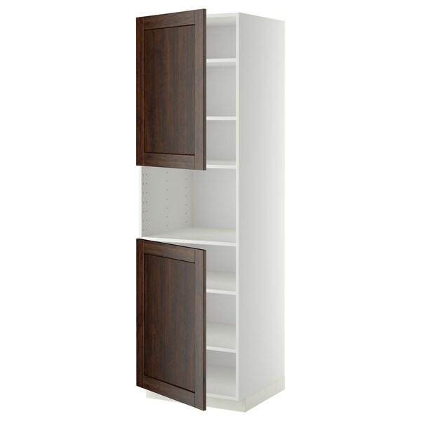 METOD Sza st wys mikr 2drz/pół, biały/Edserum brązowy, 60x60x200 cm