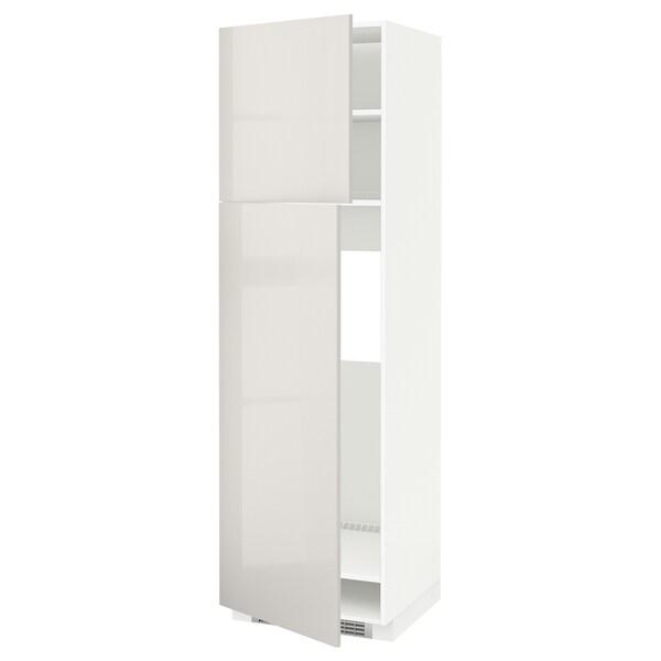 METOD Sza wys lod z 2 drz, biały/Ringhult jasnoszary, 60x60x200 cm