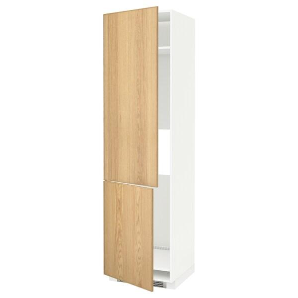 METOD Sza wys n lod/zam 2drz, biały/Ekestad dąb, 60x60x220 cm