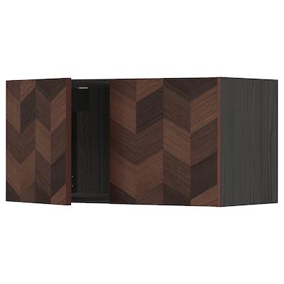 METOD Szafka śc/2 drzwi, czarny Hasslarp/brązowy wzór, 80x40 cm