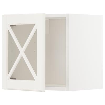 METOD Szafka śc/szkl drzwi, biały/Bodbyn kremowy, 40x40 cm