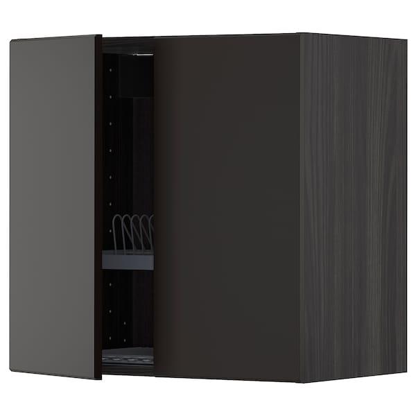 METOD Szafka ścienna z ociekaczem/2 drzwi, czarny/Kungsbacka antracyt, 60x60 cm