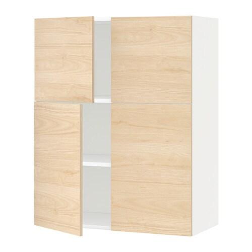 METOD Szafka ścienna z półkami 4 drzwi  biały, Askersund   -> Kuchnia Ikea Askersund