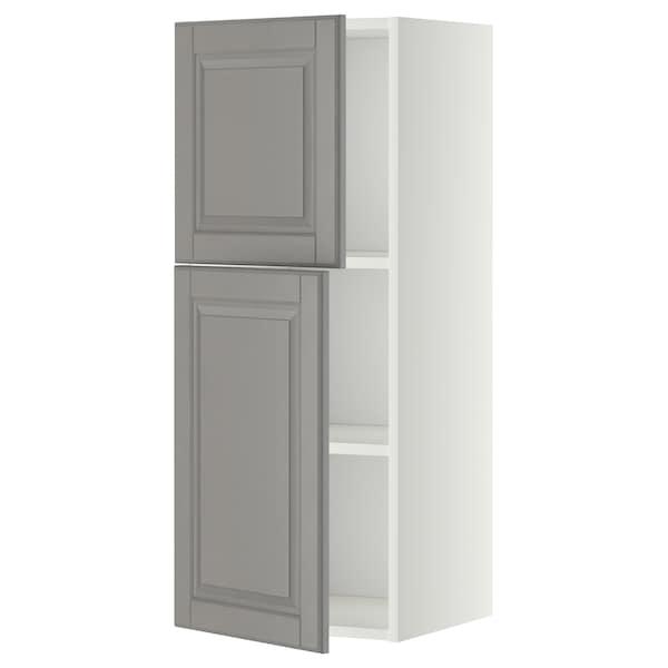 METOD Szafka ścienna z półkami/2 drzwi, biały/Bodbyn szary, 40x100 cm