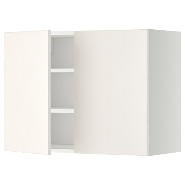 METOD Szafka ścienna z półkami/2 drzwi, biały/Veddinge biały, 80x60 cm