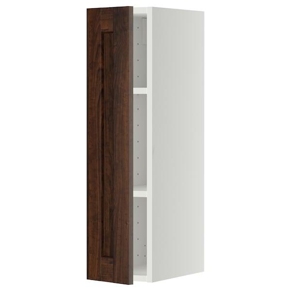 METOD Szafka ścienna z półkami, biały/Edserum brązowy, 20x80 cm