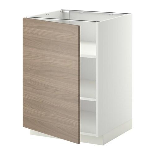 METOD Szafka stj półki  biały, Brokhult orzech jasnoszary, 60×60 cm  IKEA -> Kuchnia Orzech Jasnoszary