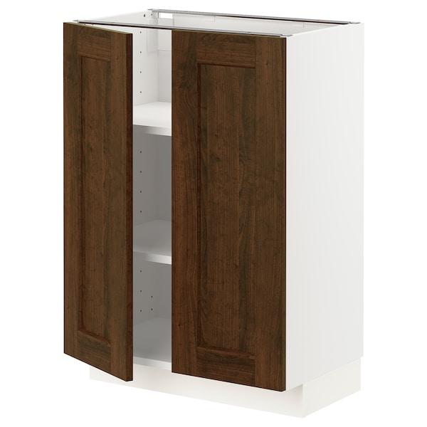 METOD Szafka stj/półki/2 drzwi, biały/Edserum brązowy, 60x37 cm