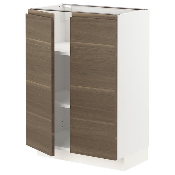 METOD Szafka stj/półki/2 drzwi, biały/Voxtorp orzech, 60x37 cm