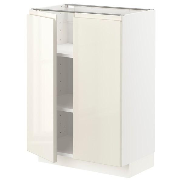 METOD Szafka stj/półki/2 drzwi, biały/Voxtorp wysoki połysk jasny beż, 60x37 cm