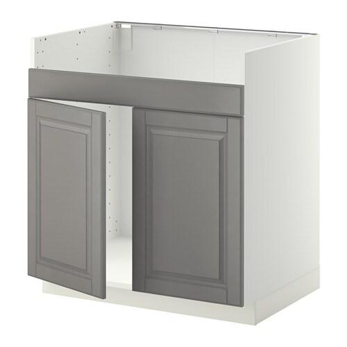 METOD Szafka stj/zlew 2/DOMSJO - biały, Bodbyn szary - IKEA