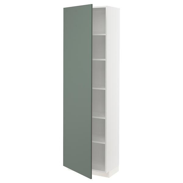 METOD Szafka wysoka/półki, biały/Bodarp szarozielony, 60x37x200 cm