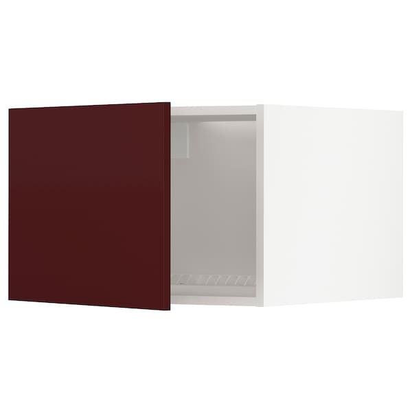 METOD szafka na lodówkę/zamrażarkę biały Kallarp/połysk ciemny czerwonobrązowy 60.0 cm 61.6 cm 40.0 cm