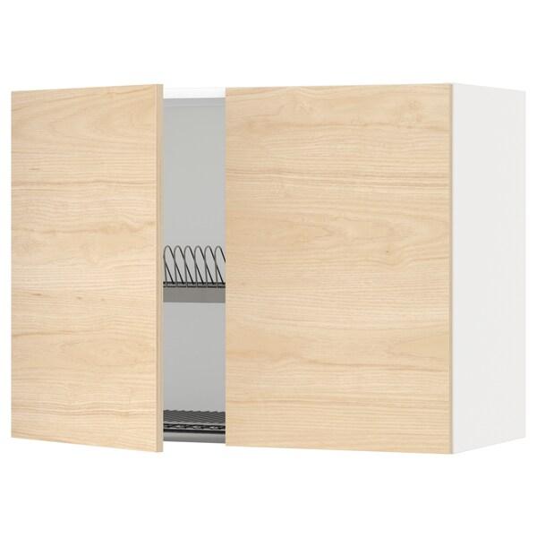 METOD szafka ścienna z ociekaczem/2 drzwi biały/Askersund wzór jasny jesion 80.0 cm 38.6 cm 60.0 cm
