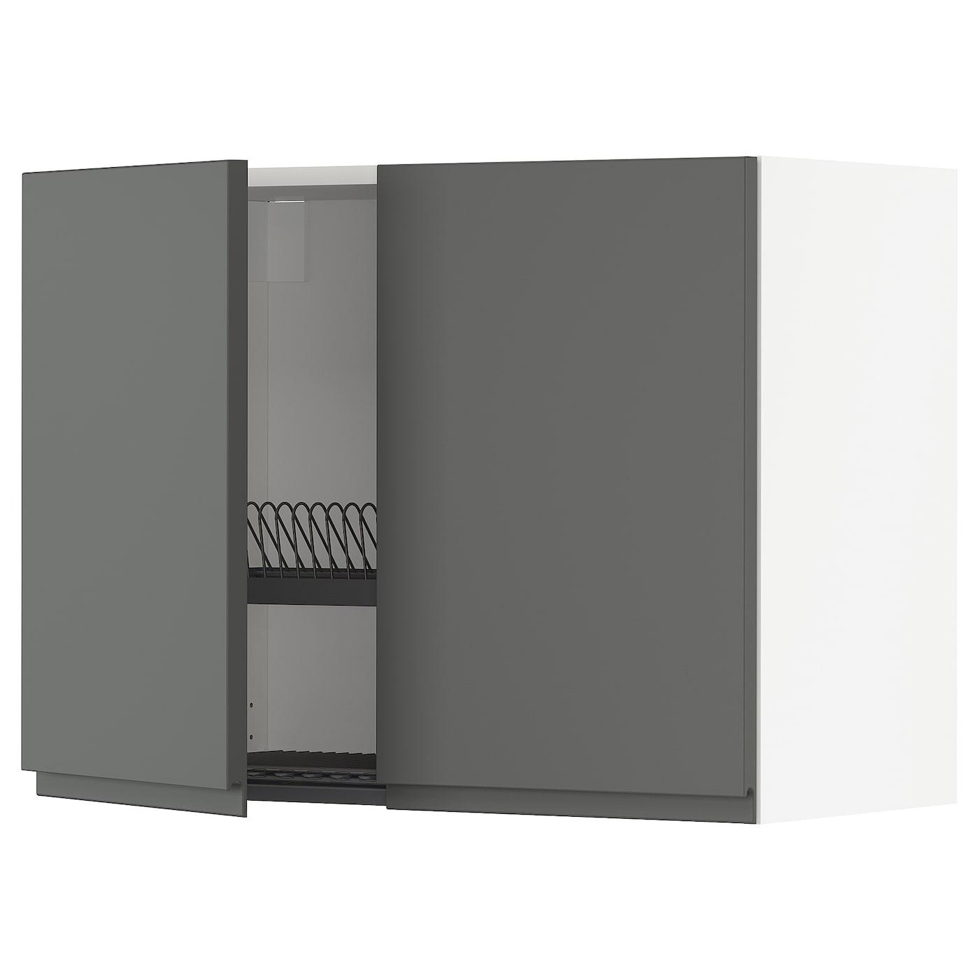 IKEA METOD Szafka ścienna z ociekaczem/2 drzwi, biały, Voxtorp ciemnoszary, 80x60 cm