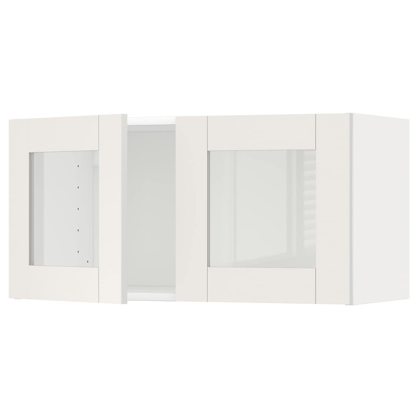IKEA METOD Szafka ścien/2 szkl drzwi, biały, Sävedal biały, 80x40 cm