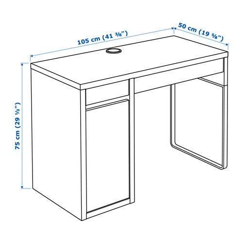 МИККЕ Письменный стол, черно-коричневый, 105x50 см-8