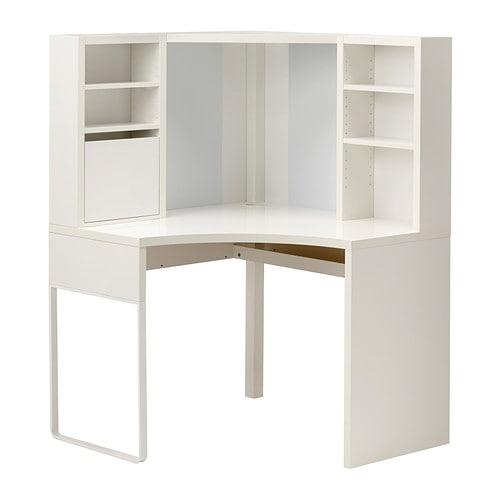 Cudowna MICKE Biurko narożne - biały, 100x142 cm - IKEA IE98