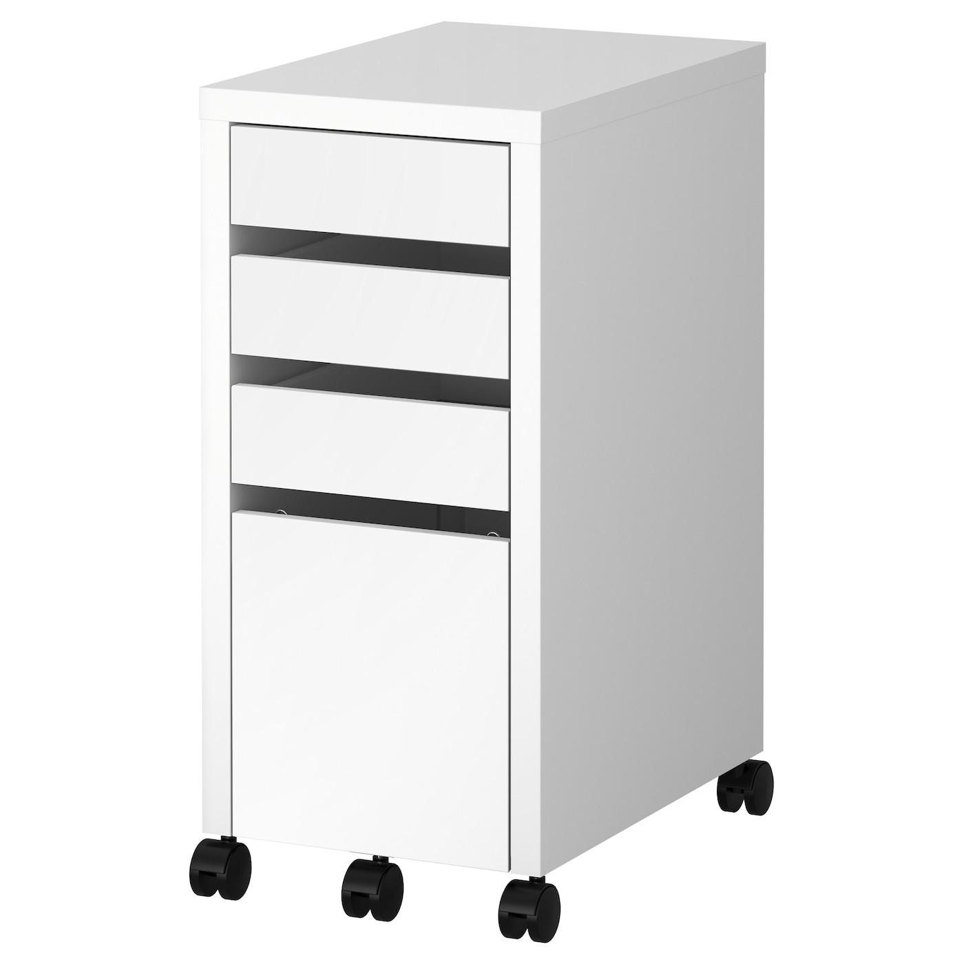 IKEA MICKE biała komoda na kółkach z miejscem na dokumenty, 35x75 cm