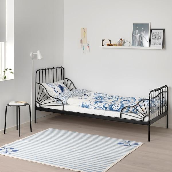 MINNEN Rozsuwana rama łóżka, czarny, 80x200 cm
