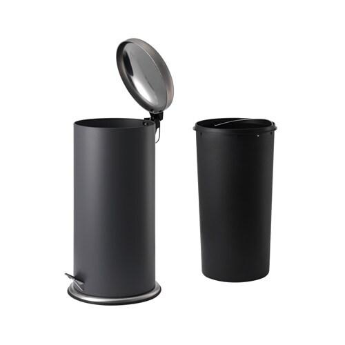 MJÖSA Ведро с откидной крышкой, темно-серый-2