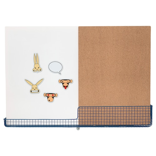 MÖJLIGHET tablica korkowa/biała z koszykiem biały/niebieski 71 cm 49 cm