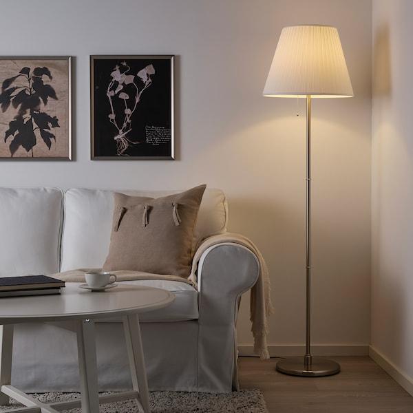MYRHULT / KRYSSMAST Lampa podłogowa, biały/niklowano