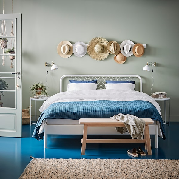 NESTTUN Rama łóżka, biały/Luröy, 140x200 cm