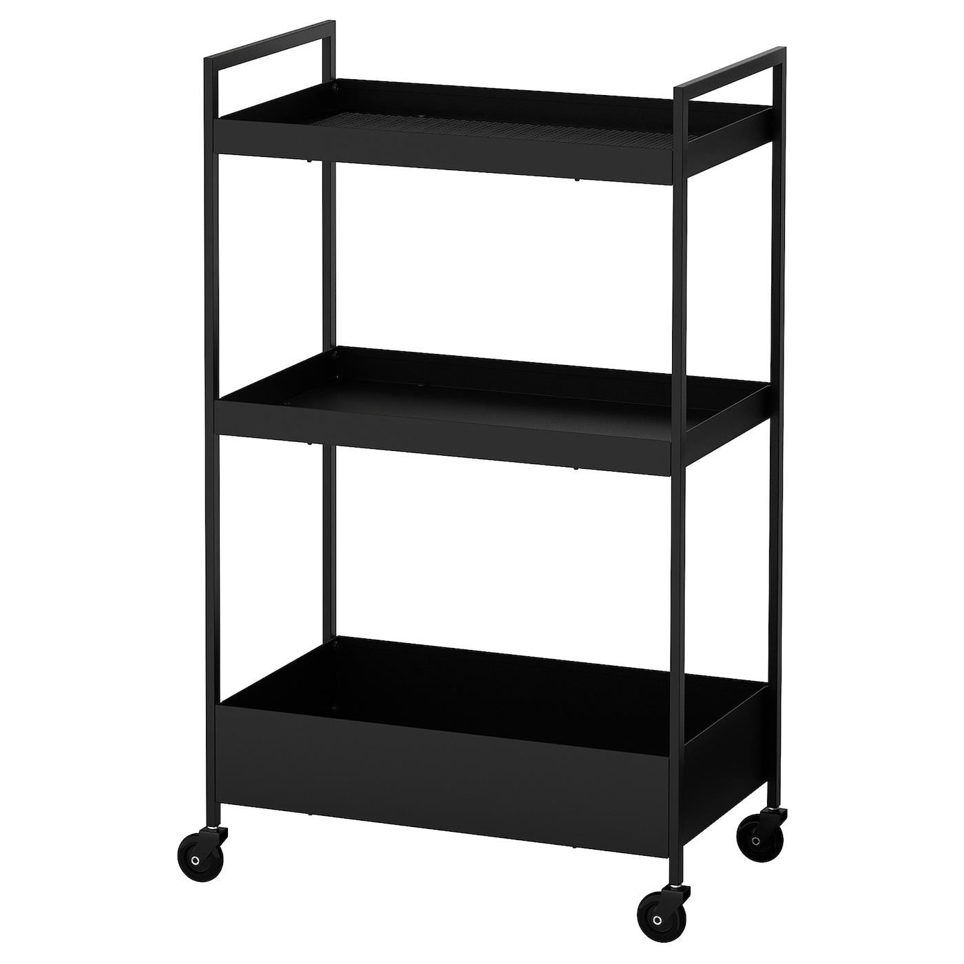 IKEA NISSAFORS Wózek, czarny, 50.5x30x83 cm